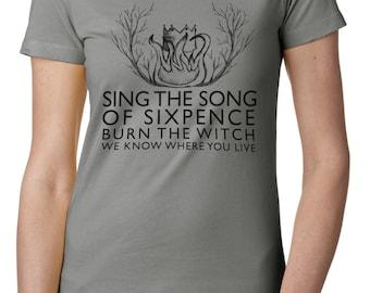 """Ladies' Radiohead inspired T shirt, """"Burn the witch"""" - Radiohead shirt - Burn The Witch Shirt - Indie Rock Shirt"""