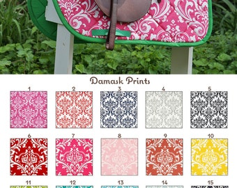 Custom Saddle Pad Damask Print Many Colors - Tapestry // Brocade // Jacquard - MADE TO ORDER