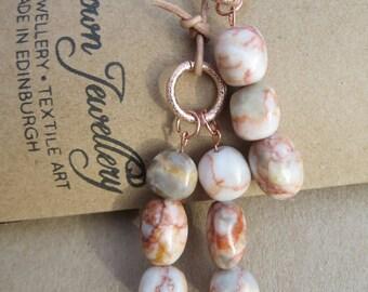 Jasper Gemstone Lariat, Edinburgh Jewellery, Scottish Designer, Handmade Lariat,Designer Lariat, Gemstone Necklace, UK