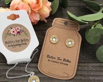 Bullet jewelry, women's jewelry, bullet necklace, bullet earrings set