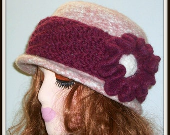 HAT WOMENS KNITTED Felted  Headband With Felted Flower  Wool Woman Girls Winter Spring Gift Mom Warm Pink Flower