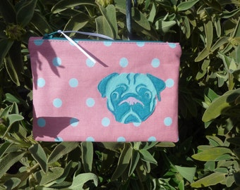 Pug purse, pouch, zippered pouch,  small cosmetic bag, makeup storage, appliqué pug, dog lovers