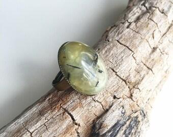 Brass, prehnite gemstone ring