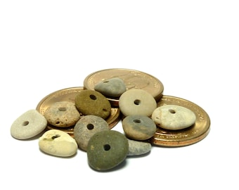 Small Beach Pebbles OREGON TRAIL Rondelle Stones Natural Lake Finds Supplies for Jewelry Beading Soft Strand Palette Trail of Beads