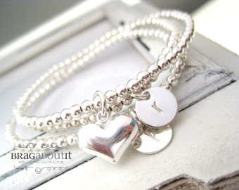 Hand Stamped Jewelry . Personalized Initial Bracelets . Sterling Silver Beaded Bracelet . Create Your Own Stack . Forever Love