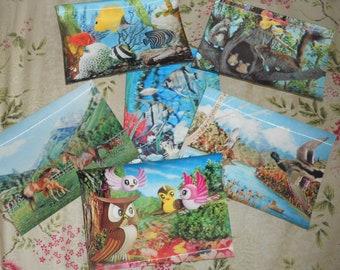 Set of six Vintage 3D Postcards - Nature and Kids