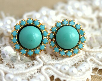 Turquoise Swarovski stud earrings, gift for woman, turquoise earrings, 14k plated gold post earrings real Swarovski pearls .