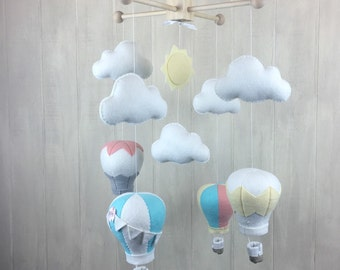 Baby mobile - Hot air balloon mobile - custom colors available - nursery decor - crib mobile - cloud mobile