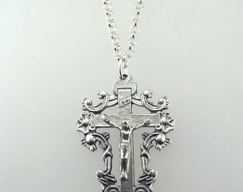 Large Ornate Crucifix Necklace
