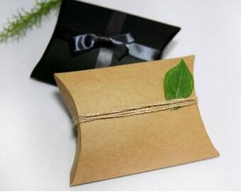 5 Small pillow boxes, black gift box, kraft gift box, small gift box, small favor box, flat gift box, wedding favor box, party favor box