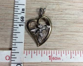Vintage 925 Sterling Silver 2g Heart Angel Of Hope Pendant Used
