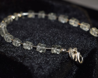 Green Amethyst Heshi Discs and 925 Sterling Silver Bracelet.