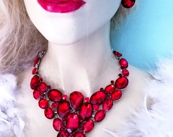 Red Rhinestone Crystal Choker Statement Necklace Earring Set Pageant Prom Drag