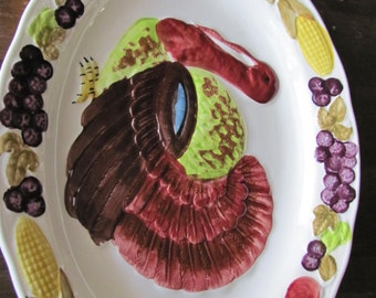 "LARGE Vintage Turkey Platter Made in Japan Majolica Style18 3/4"" X 14"""