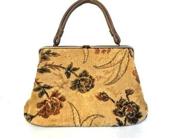 Mid-Century Tapestry Top Handle Handbag