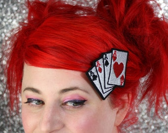 Playing Cards Hair Clip, Aces, Rockabilly Hair Clip