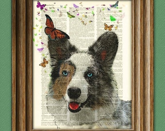 The Corgi and the Butterfly Garden blue merle welsh cardigan corgi upcycled dictionary page art print
