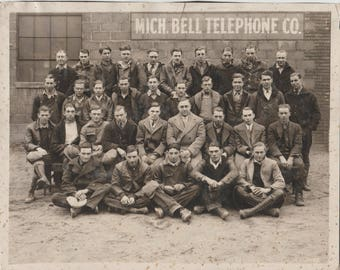 The Men of Michigan Bell Vintage 8x10 Photo 1920s 1930s