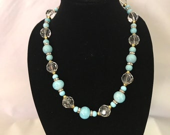 Turquoise color, vintage bead and crystals Necklace