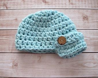 Newborn Newsboy Hat, Baby Boy Hat, Infant Crochet Hat, Baby Beanie, Infant Beanie, Blue Baby Hat, Hat for Boys