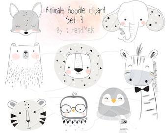 Animals doodle set 3, Woodland Clipart ,Animals clipart Instant Download PNG file - 300 dpi