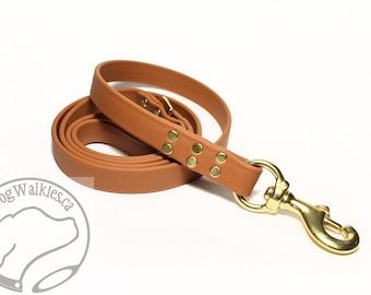 "Caramel Brown Genuine Biothane© Large Dog Leash - 3/4"" (19mm) Wide - Waterproof - Handcrafted - Custom length - Choice of hardware"