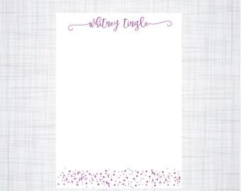 Personalized Notepad. Floral Notepad. Polka Dot Notepad.