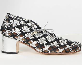 Tadelina Spain 1960s Vintage Women's Ultra Mod Black & Silver Leather Cut-Out Shoes Sz 5