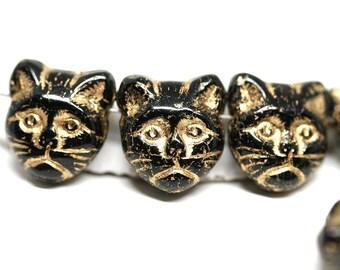 Golden Black Cat beads Black Gold czech glass beads Side drilled Black cat head Feline Kitty 8pc - 0084