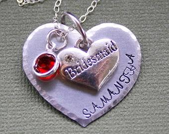 Bridesmaid Heart Necklace - Handstamped Jewelry - Wedding Gift - Swarovski Birthstone - Custom Name Pendant