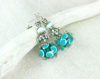 Silver White Blue Earrings - Gift for her - Christmas gifts
