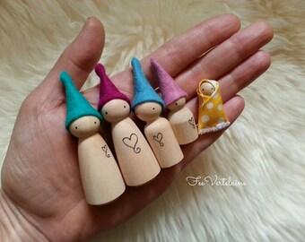 Waldorf Spielzeug - CUSTOM-Familie von Holz Waldorf-Elf von FeeVertelaine