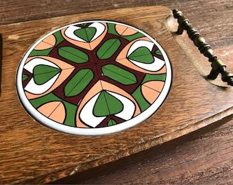 Mid Century MCM Geometric design Cheese board with handles, ceramic trivet, maget