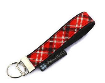 Key Fob Wristlet - Key Chain Wristlet -  Keychain - Key Fob - READY TO SHIP -  - Red Plaid Fabric