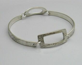 Handmade Sterling Silver Linked Bangle Bracelet, Unique Bangle Bracelet, Stacking Bangle Bracelet, Sturdy Silver Bangle Bracelet, Comfort