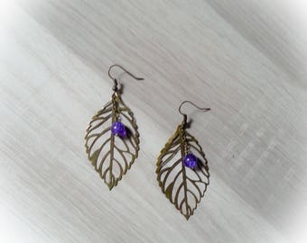 dangling earrings leaf bronze and purple beads