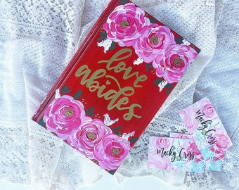 Love abides bible | valentines bible | hand painted bible | Valentine's Day