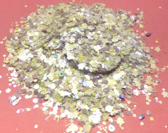 Glitter Solvent Resistant Franken Supply White Snow Flake and Tinsel Lavender Pale Yellow Dot Glitter Mix