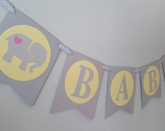 elephant baby shower - elephant favors - elephant banner - elephant decorations - elephant party - elephant garland - elephant yellow
