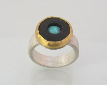 Volcano - gold and silver ring with onyx and  Lab opalite-Cocktail ring.