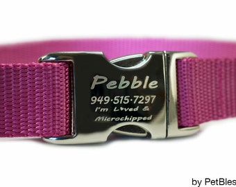 "Personalized Dog Collars Pink Dog Collar 3/4"" or 1"""
