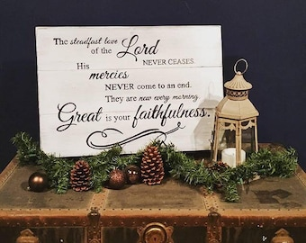 Scripture sign, Great is your faithfulness, handpainted sign, wall decor, scripture decor, home decor, inspirational sign, 22x36, 16x24