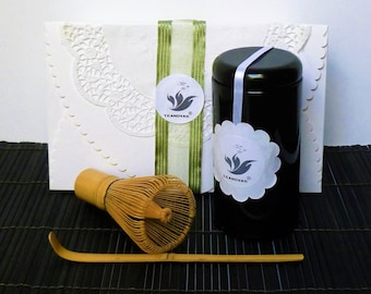 Matcha Tea Set-Ceremonial Grade Japanese Matcha with Bamboo Whisk and Scoop