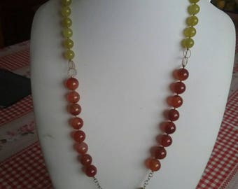 Brown and yellow carnelian silver necklace