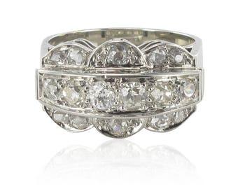 Bague art déco diamants platine or blanc
