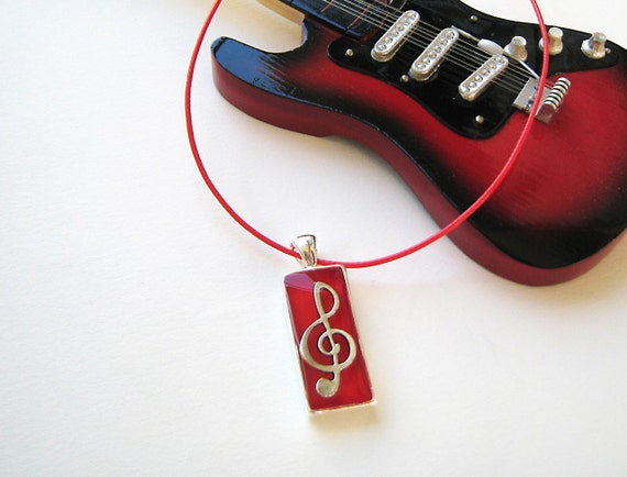 Music necklace, treble clef necklace, music note charm, red resin pendant, dancer jewelry, jazz rock musician jewelry, music teacher gift