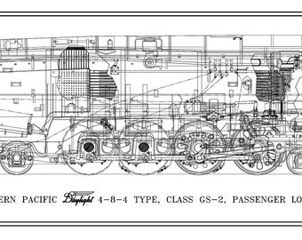 """Southern Pacific """"Daylight GS-2"""" 4-8-4 Type Locomotive Drawing - Side View"""