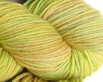 March Hare hand dyed worsted weight yarn, 4ply superwash merino, 100g 220yds - Horned Melon 2