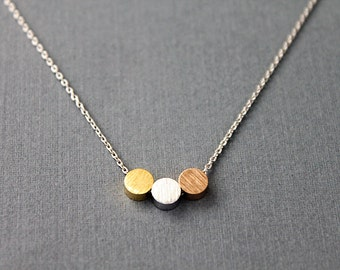 Three Dots Necklace Silver / Gold / Rose gold Circle Necklace Bridesmaid Gift Bridesmaid Necklace Birthday Gift