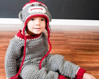 Sock Monkey Coverall Set Crochet Pattern PDF 637